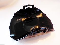 Vtg Black Glass Nappy Candy Soap Plate Dish Rolled Bent Edge Double Handle | eBay