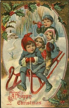 Children on Sled A Happy Christmas