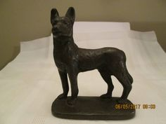 Vintage Cast Bronze/Iron German Sheperd Dog, Metal Dog, Home Decor, Book End, Door Stop, Paper Weight by chulapoe on Etsy