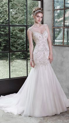 trumpet gown fit flare mermaid crystal beaded strap sweetheart neckline melissa