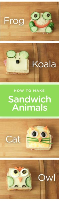These sandwich animals are SO cute! Can't wait to make these.