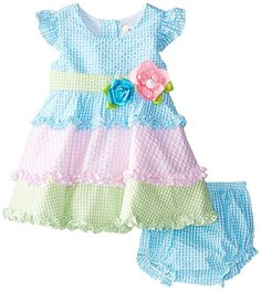 Amazon.com: Rare Editions Baby Baby Girls' Colorblock Seersucker Dress, Turquoise/Pink/Lime, 18 Months: Clothing