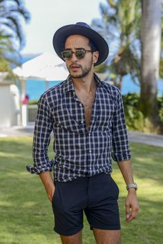 The Metro Man pairs a Hamilton shirt with swim trunks by Orlebar Brown, menswear, men's fashion and style
