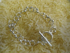 bracelet made from jump rings and sliver beads  £10.00 +p