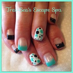 Teal & Black polka dots By Trai-Sea's Escape Spa