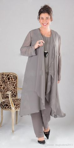 Plus size Elegant Gray Chiffon mother of the bride dress pants suit Mother Of Bride Outfits, Mother Of Groom Dresses, Mothers Dresses, Mother Bride, Mother Of The Bride Trouser Suits, Mob Dresses, Plus Size Dresses, Plus Size Outfits, Party Dresses