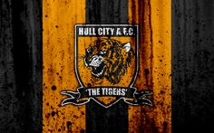 Download wallpapers 4k, FC Hull City, grunge, EFL Championship, art, soccer, football club, England, Hull City, logo, stone texture, Hull City FC