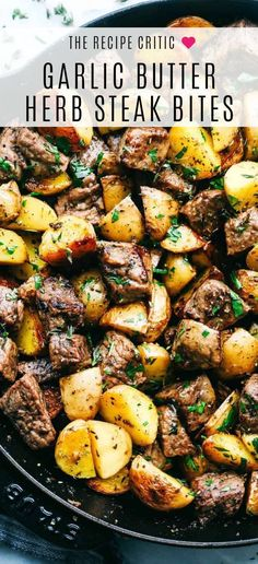 Garlic Butter Herb Steak Bites with Potatoes are such a simple meal that is full. - Garlic Butter Herb Steak Bites with Potatoes are such a simple meal that is full. Garlic Butter Herb Steak Bites with Potatoes are such a simple mea. Healthy Dinner Recipes For Weight Loss, Dinner Ideas Healthy, Healthy Dinner Sides, Steak Dinner Sides, Grilled Steak Recipes, Steak Meals, Healthy Steak Recipes, Steak Dinner Recipes, Food Recipes For Dinner