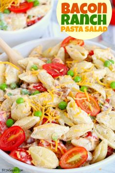 Bacon Ranch Pasta Salad - A quick and simple pasta salad with bacon, peas, tomatoes and cheese tossed in a creamy homemade ranch dressing. Salad Recipes For Dinner, Easy Salad Recipes, Easy Salads, Summer Salads, Side Dish Recipes, Potluck Salad, Potluck Dishes, Pasta Dishes, Bacon Ranch Pasta Salad