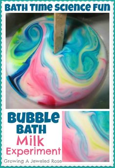 Colorful bath time Science experiment using bubble bath.   We have done this- the kids *really* are intrigued by it! ~Little blessings~