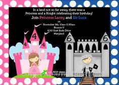 Princess Knight Birthday Invitation by CutiesTieDyeBoutique, $15.00