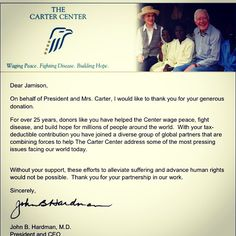 """""""Donated to The Carter Center in honor of Charlotte Bacon for my first act."""""""