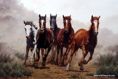 "These galloping horses provide the image for Chris Cummings print BREAK AWAY. ""The eastern Oregon dust makes a stark and simple background that complements the power and detail in these running horses"
