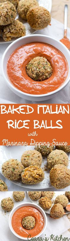 Baked Italian Rice Balls (Arancini) with Creamy Marinara Dipping Sauce - the perfect appetizer or side! Soft, cheesy & risotto-filled centered PLUS a crisp, herby + breaded exterior! #glutenfree #vegan #healthy #veganfood #recipe