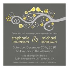 Whimsical Love Birds Engagement Party 5.25x5.25 Square Paper Invitation Card