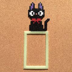 Jiji cat - Kiki's Delivery Service frame perler beads by Tsubasa Yamashita Melty Bead Patterns, Pearler Bead Patterns, Perler Patterns, Beading Patterns, Totoro, Diy Perler Beads, Perler Bead Art, Motifs Perler, Hama Beads Design