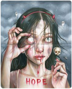 A website of paintings by Hanna Jaeun, a Brooklyn base artist. Dark Fantasy Art, Dark Art, Arte Horror, Creepy Art, Weird Art, Art Sketches, Art Drawings, Spoke Art, Horror Artwork
