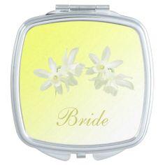 Yellow Floral Wedding Bridal Compact Mirror