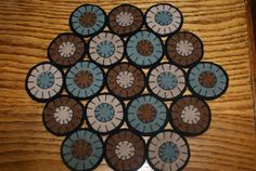 primitive folk art rustic country wool penny rug candle mat