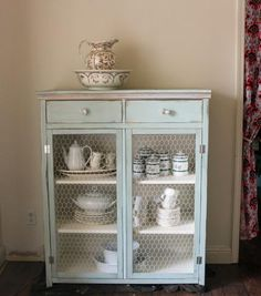 Hemnes cabinet with wire mesh Do It Yourself Home Projects from Ana White Furniture Projects, Furniture Plans, Furniture Makeover, Home Projects, Painted Furniture, Diy Furniture, Modern Furniture, Furniture Design, Chair Design