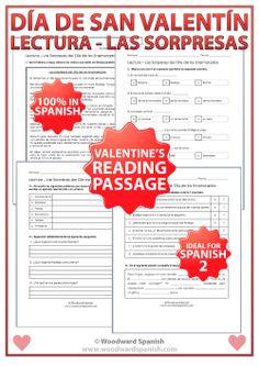 Valentine's Day Reading Passage in Spanish - Lectura - Las sorpresas del Día de los Enamorados - 100% en español