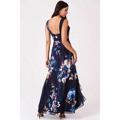 Navy viola floral plunge maxi dress