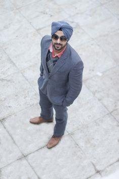 Sikh Men Fashion Style Urban Sardar Sikh Fashion Surjit Singh Grey Suit Sweater Combination. Visit: theurbansardar.com