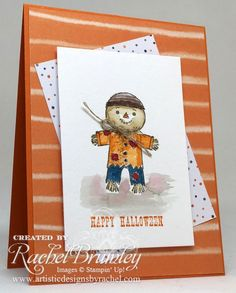 It's a Cookie Cutter Halloween when you have this cute scarecrow on your handmade card!  Use an Aquapainter to color him in.