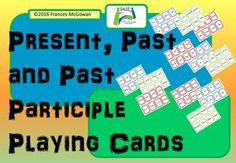 Instructions for useLaminate the pages and cut to make individual cards.Activity 1Use as a matching activity for learning the present, past and past participle of irregular verbs. To aid sorting, present tense has a blue border, past has a red border and past participle has a green border.Game (2-6 players)The aim of the game is to get the most sets of verbs. (A set consists of the present, past and past participle of one verb.)Mix the cards.