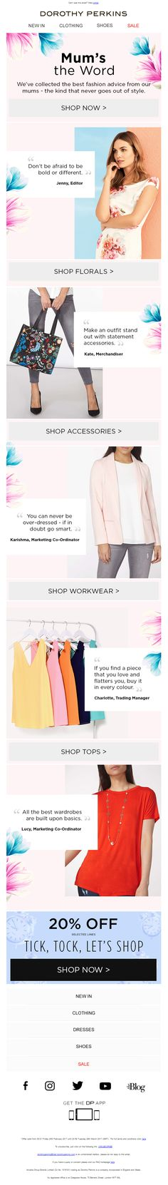 Mother's Day Email from Dorothy Perkins with social proof recommendations from stagg #EmailMarketing #Email #Marketing #MothersDay #Mothers #Day #Fashion #SocialProof #Social #Proof #Recommendations #Reviews Free Credit Repair, Make Money Online, How To Make Money, Mums The Word, Social Proof, Newsletter Design, Fashion Marketing, Email Design, Petite Outfits