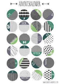 Adventscalendar Grey Green round Numbers Christmas Free Print Weihnachten DIY Pearodie
