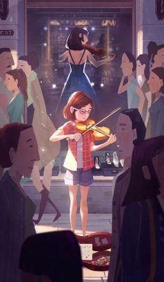 Muda tocando el violín Cute Art, Pretty Art, Illustration Fantasy, Digital Illustration, Character Illustration, Character Art, Character Design, Art Reference, Anime Musica
