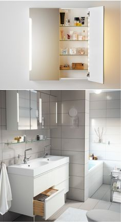 The STORJORM mirror cabinet has a built-in LED light source that lasts up to 20 longer and consumes up to 85 percent less energy than traditional incandescent bulbs.