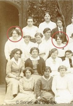 Authors Dorothy Sayers and Vera Brittain, shown with classmates at Somerville College, Oxford in 1915.
