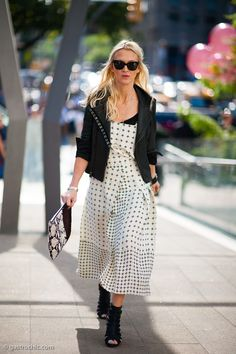 Zanna Roberts Rassi cleverly layered a cross-print sundress with a black tee underneath and motorcycle jacket on top for a great combination of edgy and girly.