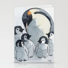 Penguin family 515 Stationery Cards by S-Schukina - $12.00