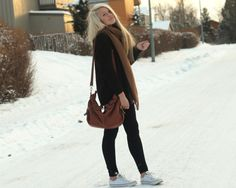 Black on black with pumpkin scarf and converse