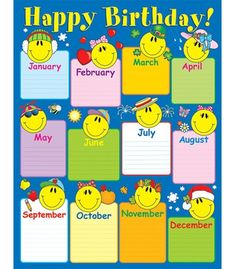 Birthday chartlets are an excellent way to celebrate students' birthdays! The Smiley Face Birthday chart measures x and includes a resource guide on the back. Classroom Rules Poster, Classroom Charts, Classroom Displays, Birthday Calendar Classroom, Birthday Bulletin Boards, Classroom Banner, Kindergarten Classroom Decor, Birthday Display, Birthday Charts