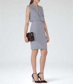 Womens Dusty Blue Shawl-neck Dress - Reiss Portland