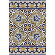 Portuguese Bicesse Tiles from Portugal - Traditional decorative hand painted ceramic azulejo