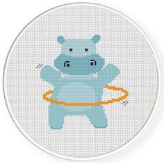 Hula Hoop Hippo Cross Stitch Pattern Easy Cross Stitch Patterns, Cross Stitch For Kids, Simple Cross Stitch, Cross Stitch Baby, Cross Stitch Animals, Modern Cross Stitch, Cross Stitch Charts, Cross Stitch Designs, Cross Stitching