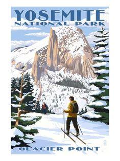 Yosemite National Park, California - Glacier Point and Half Dome - Lantern Press Artwork Giclee Art Print, Gallery Framed, Espresso Wood), Multi Vintage Ski Posters, Retro Poster, California National Parks, Us National Parks, California Art, California Travel, Skier, National Park Posters, Look Vintage