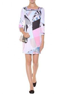 Emilio Pucci Square Neck Multicolor Printed Mini Dress Pink [Square Neck Printed Pink] - $183.00 : Emilio Pucci Online Dresses Outlet,Pucci Dress Sale 60% Off!