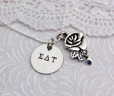 Personalized SIGMA DELTA TAU Hand Stamped by CatalinasTreasures