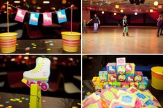 disco rollerskate party | Neon Roller Skate Themed Birthday Party Cosmic via Kara's Party Ideas ...