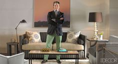 I like the idea of a sofa like this in the office/library.  Room by Thom Filicia