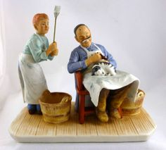 """1980 Norman Rockwell Figurine """"Swatters Rights"""" Norman Rockwell Figurines, Artist, Painting, Ebay, Painting Art, Paint, Draw, Amen, Artists"""