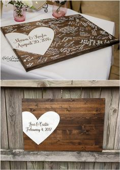 wood wedding guest book