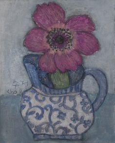 "Soojung Cho, anemone in jug, acrylic on canvas, 10""x8"""