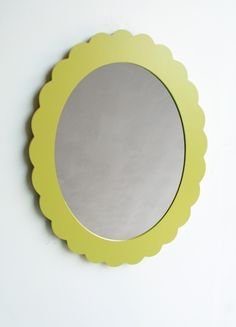 chartreuse scallop mirror or frame